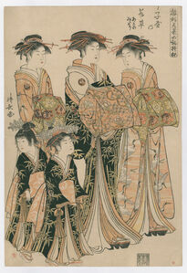 Models for Fashion: The New Designs as Fresh Young Leaves(Wakakusa of the Choji-ya, Kamuro Asano and Midori)