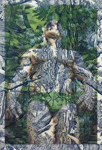Maciek Mika Face and Torso Krakow (on blue and white pastoral toile)