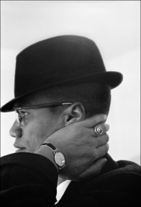 Malcolm X during his visit to enterprises owned by Black Muslims. Chicago, Illinois. USA.