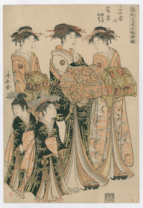 Models for Fashion: The New Designs as Fresh Young Leaves(Wakakusa of the Choji-ya, Kamuro Asano and Midori)