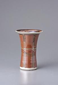 Vase, kaki and namijiro glazes with wax resist decoration