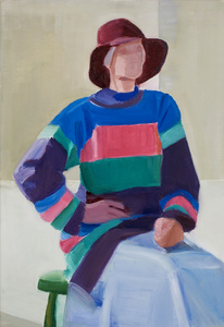 Self Portrait in Long Striped Sweater