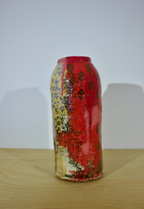 Small Red Jar with Indian Print Motif