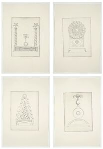 Designs for Clocks decorated with Feathers in the Indigenous taste