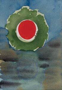 Two Works of Art: Green and Red Circles; Sun and Blue Triangle