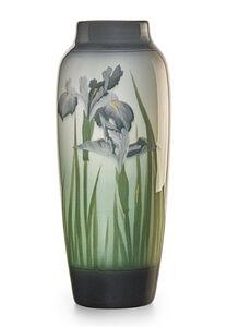 Banded Iris Glaze vase with irises, Cincinnati, OH