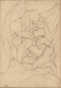 Two Drawings: Winged Creature with Child and Boxing Match