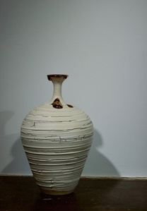 Textured Vase with Long Neck and Copper Lustre