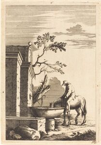 Horse and Rider at a Fountain