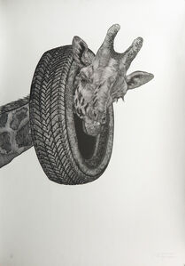 Giraffe with Tire