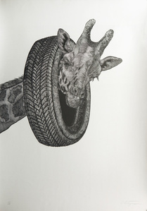 Giraffe with Tire