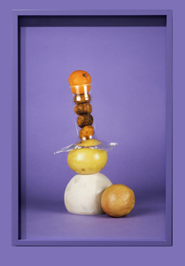 """Citrus, glass and ceramic on purple"""