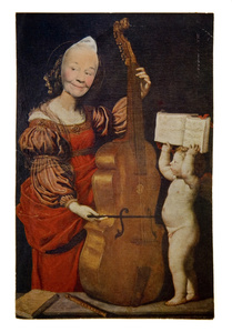 Ridiculous Portrait (cello and cherub)
