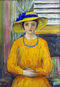 Jeune fille a la robe et au chapeau jaunes