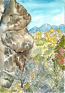Petroglyps and Taos Mountain