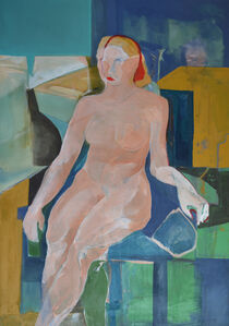 WOMAN IN BLUE CHAIR