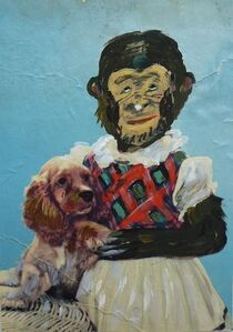 Monkey Girl With Puppy