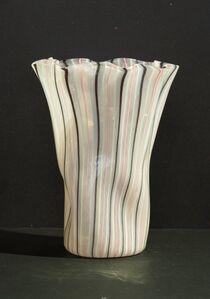 1950's cylindrical vase in zanfirico glass.