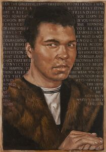 It Isn't the Mountains Ahead that Wear You Out It's The Pebble In Your Shoe - Portrait of Mohammed Ali and his quotes after Hans Memling's Portrait of a Man against a Dark Background
