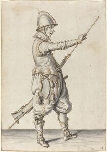 Elegantly Dressed Soldier Tamping His Caliver