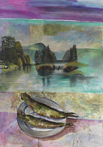 Untitled (the artist inserted two anonym landscape paintings)