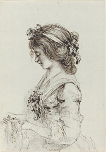 A Young Woman Sewing [recto]