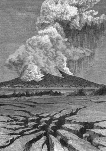 Volcano Emitting Rapidly Expanding Gases Containing Millions Of Tons Of Rock Reduced To Powder By The Deflagration