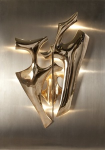Pair of Sculptural Sconces Mounted on Stainless Steel Backplates