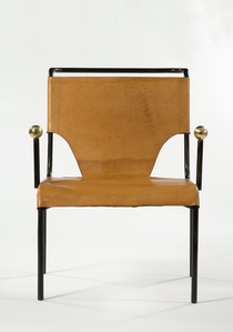 """Bola"" armchair with black iron frame and leather seat and back with lace-up detailing. Designed by Lina Bo Bardi, Brazil, 1951.(seat: 16"" H)"