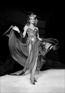 Jerry Hall models Thierry Mugler at Bond's disco