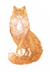 Fox Lady And Her Pet