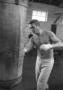 Steve McQueen boxing in Los Angeles