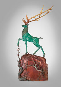 The Divine Deer Stepping Forward in the Green Mountains
