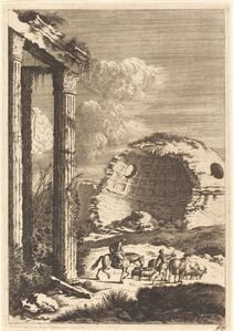 Shepherds Traveling past a Ruined Rotunda