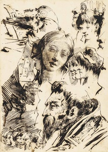 Studies of heads, including those of a young woman and profiles of Orientals, with a subsidiary study of a farm