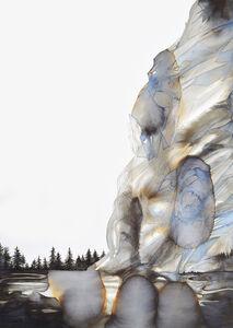 Land forming geyser clouds arise