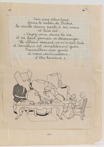 """In Babar's living room...,"" illustration for Babar and His Children"