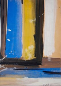 Untitled (Blue, Yellow, Black & White Stripes)