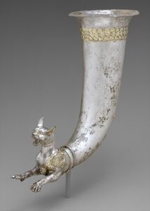 Rhyton terminating in the forepart of a wild cat