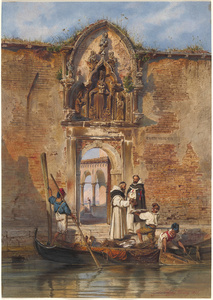 Monks Buying Fish before the Portal of the Madonna della Misericordia