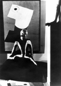 Art in Fashion: Model in Balenciaga in front of painting by Miro, photographed in Helena Rubenstein's Paris Home
