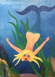 Nude Mermaid Under Sea, German Outsider Folk Art OIl Painting