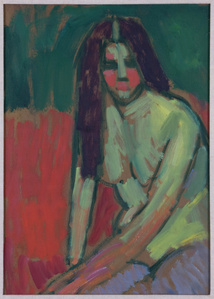 """Half-nude figure with long hair sitting bent"""