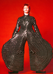 Striped bodysuit for the Aladdin Sane tour. design by Kansai Yamamoto