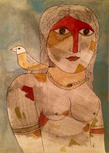 Painted Woman with Bird