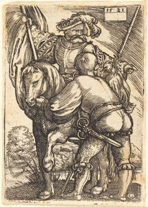 Riding Standard Bearer and Foot-Soldier