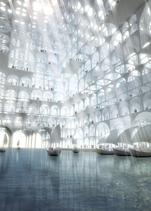 Rendering, Souk Mirage / Particles of Light commercial building complex, concept master plan