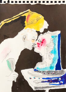 Untitled (kissing under lamp)