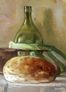 Still Life with Bread, Leek and the Green Bottle