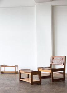 'Easy chair with pair of stools'